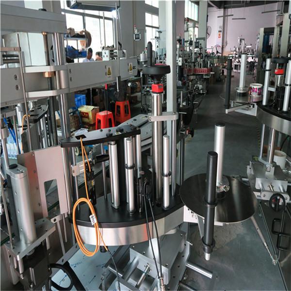 Stroj na oboustranné označování plastových / skleněných lahví, štítkovač na čtvercové lahve