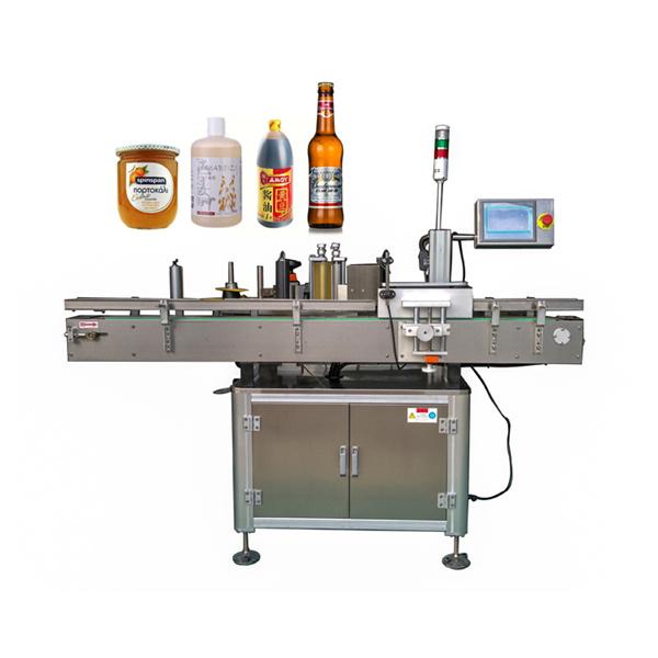 Kolem automatického štítkovacího štítkovacího stroje ploché a kulaté lahve