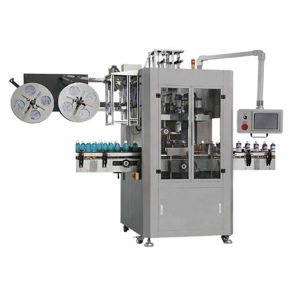 Etiketovací stroj na smršťovací návleky na mazací lahve