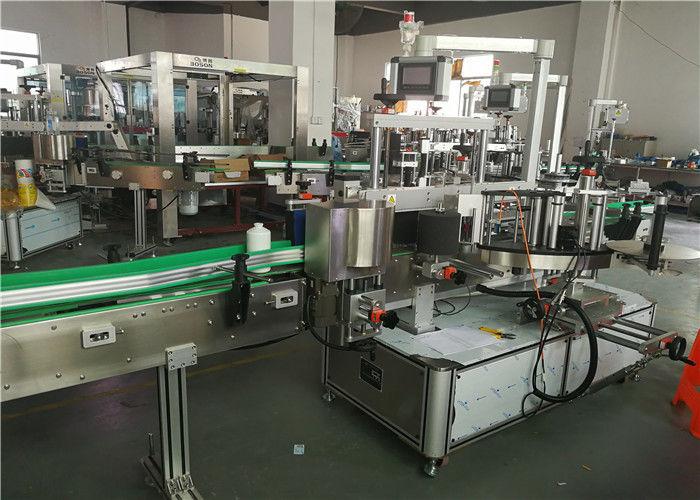 Stroj na označování oválných lahví na přední zadní straně Stroj na označování štítkovačem se dvěma aplikátory štítků